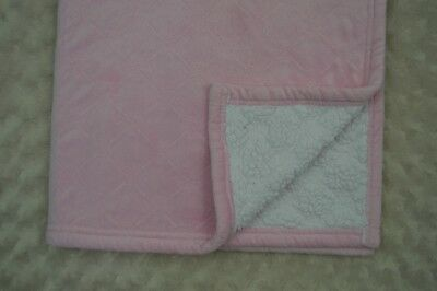 Pink Diamond Quilted Baby Blanket White Sherpa Security Lovey