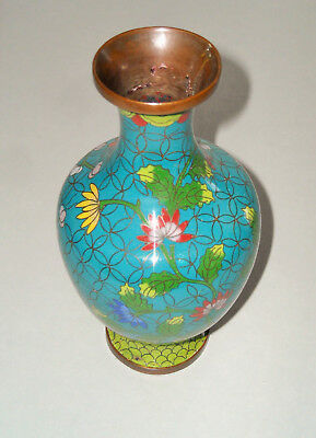 Antique Chinese Republic Small Copper Cloisonne Vase Floral Early 20th Century