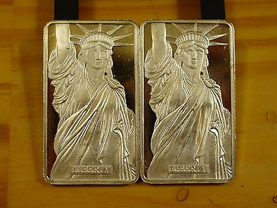 2 Ma Suisse Liberty Mtb Bars Consecutive  #'S .999 Fine Silver 2 Troy Oz Total