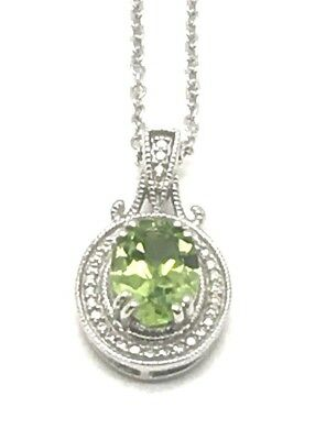 Diamonds & Gemstones Sterling Silver 925 Oval Green Peridot Dotted Halo Necklace Dangle Earring Set Fine Jewelry