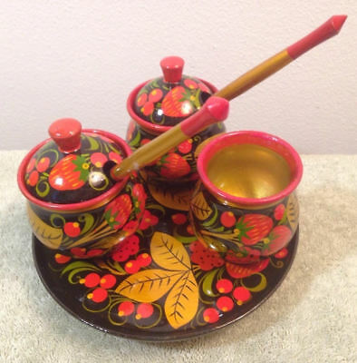 Vintage Russian Wood Hand Painted Serving Set, Red Black Lacquered 8 Pieces