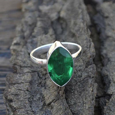 Marquise Faceted Emerald Gemstone 925 Sterling Silver Handmade Ring Size 7