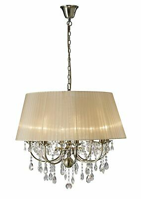 Olivia Pendant With Soft Bronze Shade 8 Light Antique Brass - Diyas