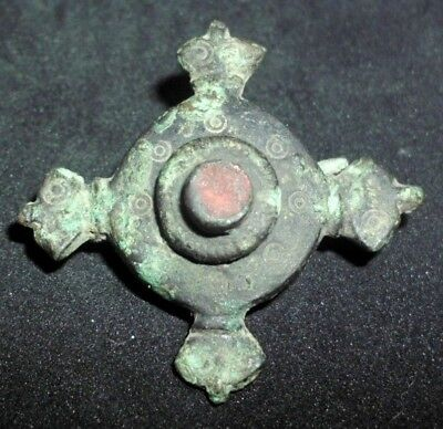 Rare Ancient Roman Cross Shape Bronze Fibula Brooch With Red Stone - 1/100 Ad