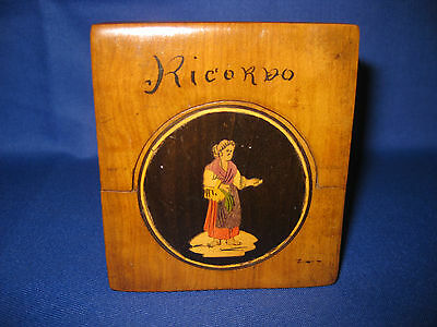 Beautiful Antique Italian Sorrento Ware Wood Inlay Pocket Watch Holder / Stand.
