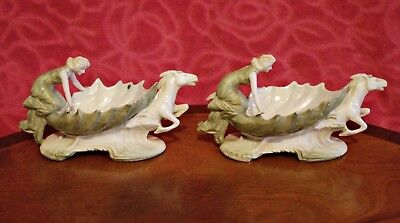Two Antique Very Rare German Porcelain Salt Cellars, 19th Century
