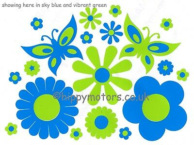 Flower & butterflies car caravan stickers daisy transfers VW camper van decals