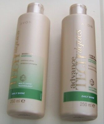 Avon Advance Techniques Daily Shine Shampoo & Leave In Conditioner 250ml New (92