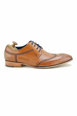 Paolo Vandini Mens Nyland Lace Up Brogue Detail Leather Shoes - Tan