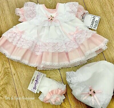 Girls designer 2pc lace bow dress & frillies set new with tags