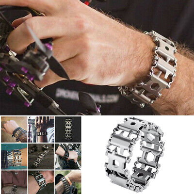 29 in 1 Stainless Steel Bracelet Wristband Climbing Hiking Wearable Multi Tool