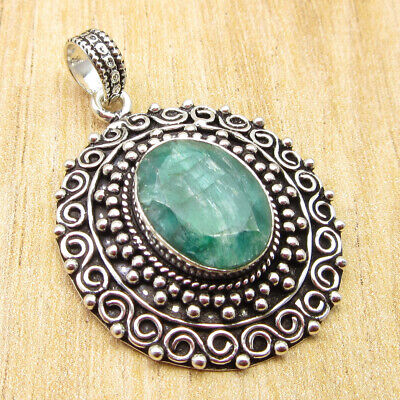 """925 Silver Plated Simulated Emerald OLD STYLE Pendant 1.7"""" Free Shipping NEW"""