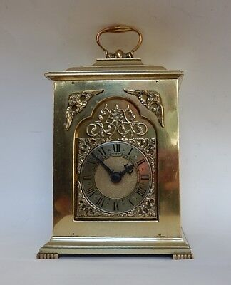Superb Rotherhams English Brass Case Mantel Clock. Fully working 2924