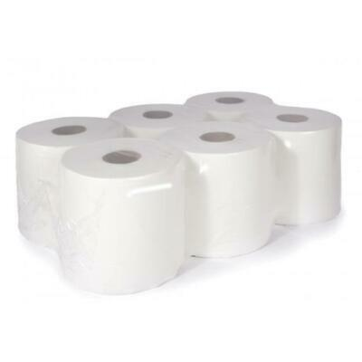 6 Pack Large Jumbo White Wipe Centre Feed Paper Rolls
