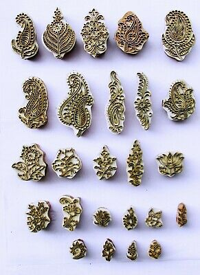 Beautiful Printing Block Brass Leaf Pattern Wooden Clay Stamp