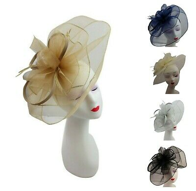 LARGE Feather Flower Hair Hat Fascinator Headband Clip Wedding Royal Ascot Race