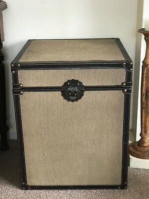 Canvas & Leather Storage Trunk Table Brass hinged Steamer