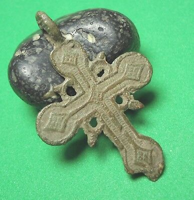 Ancient Bronze Cross Wearable Pendant Antique Rare C124