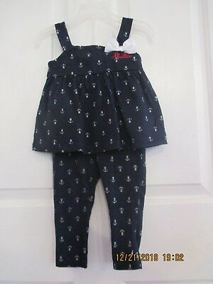 NWT Baby Gap Girls Size 12-18 Months Pink Ruffle Top /& Kitty Cat Leggings Outfit
