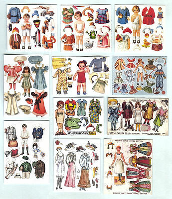 Set Of Hand-Made Dolls' House 1/12Th Scale Victorian Paperdoll Sheets