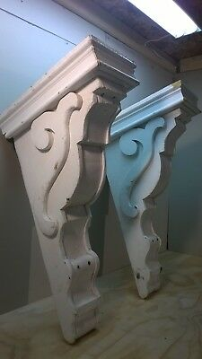 "Set of 2 Antique Victorian Architectural Salvage Wooden Corbels, 31"" T x 18"" D"