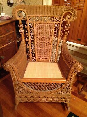 Elaborate Wicker Rocker Ornate Antique Mint