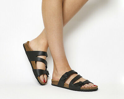 Womens Office Bounty Cross Strap Footbed Black Sandals
