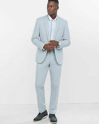 New Express $286 Gray Slim Photographer Stripe 2Pc Suit Jacket 36R Pant 29/30