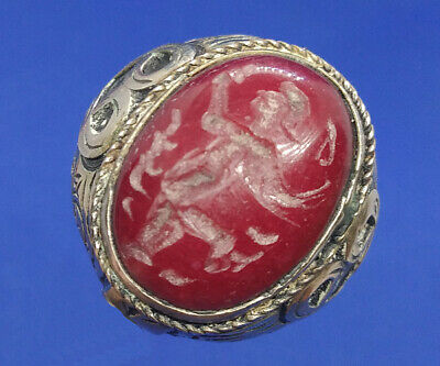 Near Eastern Old Agate Intaglio Ritual Rolling Stamp Seal Wax Tube Bead BCB67