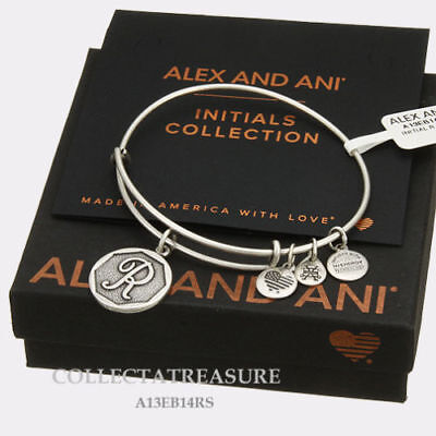 Authentic Alex and Ani Initial R Rafaelian Silver Charm Bangle