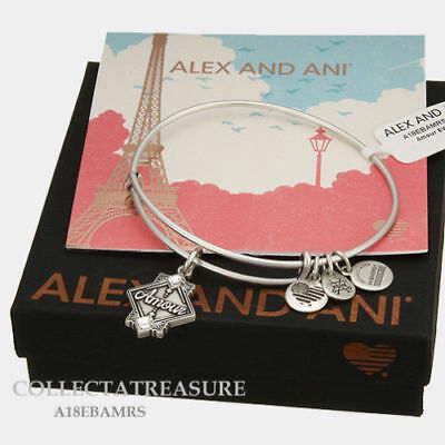 Authentic Alex and Ani Amour Rafaelian Silver Expandable Charm Bangle