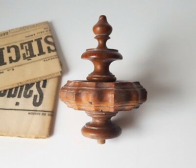 Antique wood post finial end Cap Topper French architectural 5.39 inches