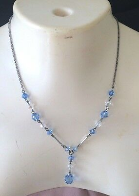 Pretty Vintage Necklace . Blue And Clear Glass 1940'S . 18 Inches . White Metal