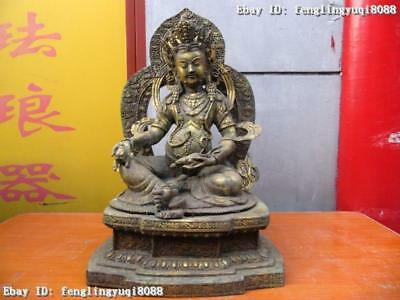 "22""Tibeta Buddhism Temple Copper Bronze gild Yellow Jambhala Buddha Statue"