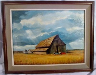 Vintage Antique SIGNED A. WATTS PAINTING FARM BARN SKY Cart ART Landscape Wood F