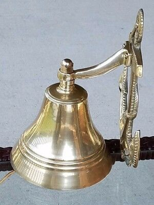 Nautical SOLID BRASS Boat Bell w/ Anchor Wall Mount