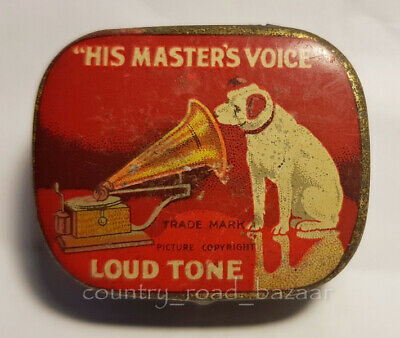 HMV Gramophone Needles RED Tin LOUD - 80 percent Full of Needles Nice