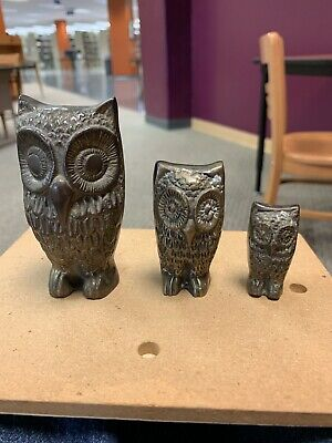 Gorgeous Solid brass owls mid century Set Very Heavy Wise Vintage Hoot Owls