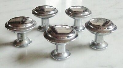 5 Vintage Mushroom Stair Step Chrome Knobs Cabinet Drawer Pull Set 1 1/4inch