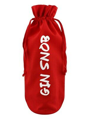 Bottle Bag Gin Snob Cotton Drawstring Red 17x37cm