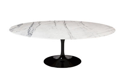 "Saarinen Style Tulip Marble Dining Table, 77"" Oval Black Gloss Pedestal Base"