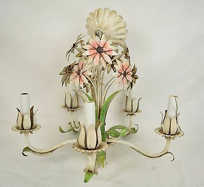 Italian Tole Chandelier Flower Floral Candle Electric Lighting 5 Arm