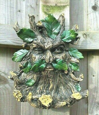 Green Man Winking Cheeky Bird Seed Feeder Wall Fence~Ready To Hang~Free Pp Uk