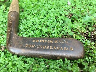 British Made The Unbreakable Golf Vintage Hickory Wooden Shaft Putter