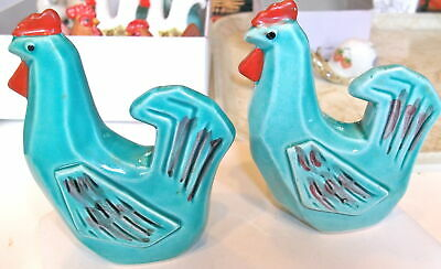 Vintage Salt & Pepper Shakers TURQUOISE Rooster Chicken  Art Deco Hand Painted