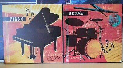 "Wood Wall Piano Drums Music Wall Plaques Art Decor 12"" x 12"""