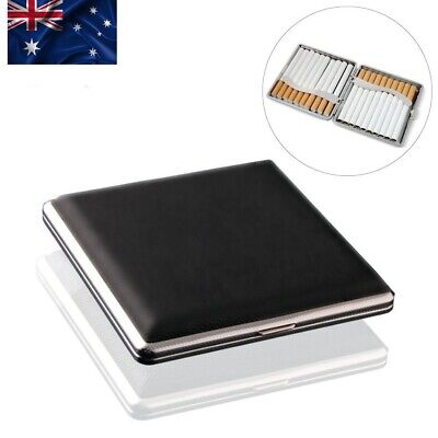 AU Cigarette Case PU Leather Metal Hold 20 Cigarette Holder Storage Case Black