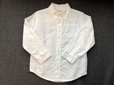 Dressed Up By Gymboree Toddler Boys White Button Up Shirt Size 3T Linen Blend