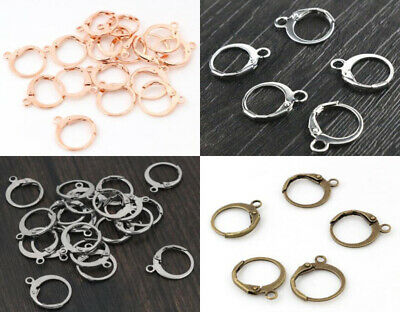 30pcs Silver Rose Gold Plated Brass French Earring Hooks Wire Settings Base 14mm