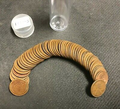 1929-S U.s. Lincoln Wheat Penny Cent Full Roll ~ Circulated Condition ~ Nr!